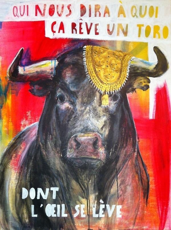acrylic painting bull torero corrida jacques brel