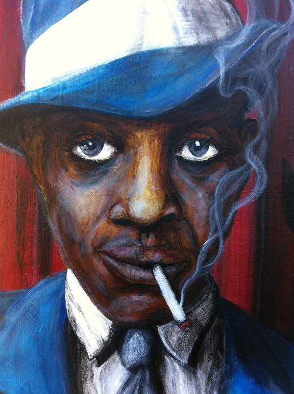 acrylic portrait robert johnson cigaret smoke