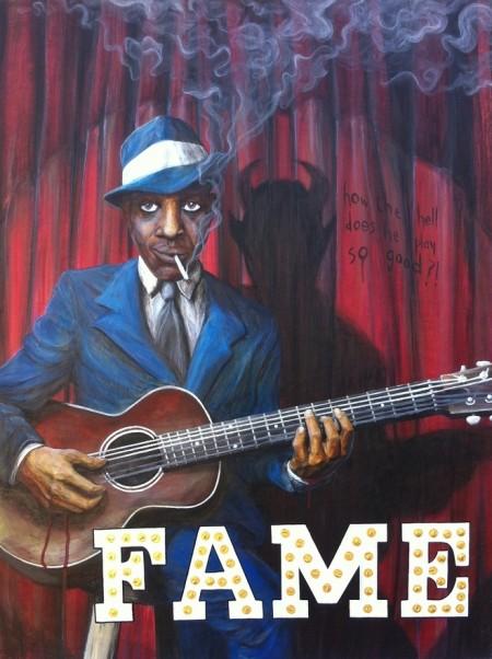 acrylic robert johnson surreal blues legend crossroads