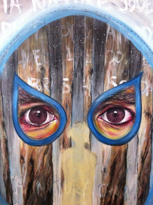 acrylic surreal eyes trees night stars mask