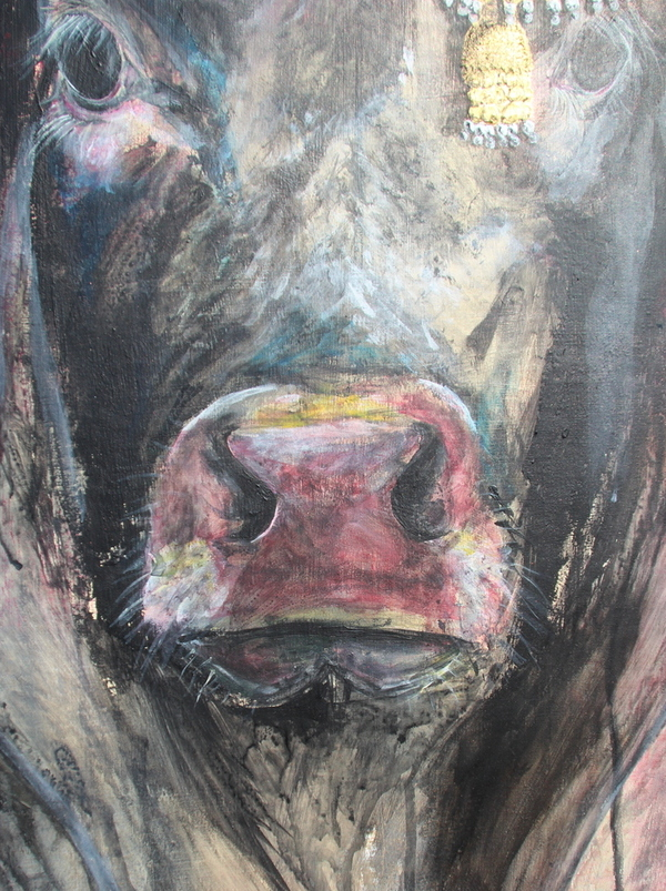 bull portrait acrylic writings