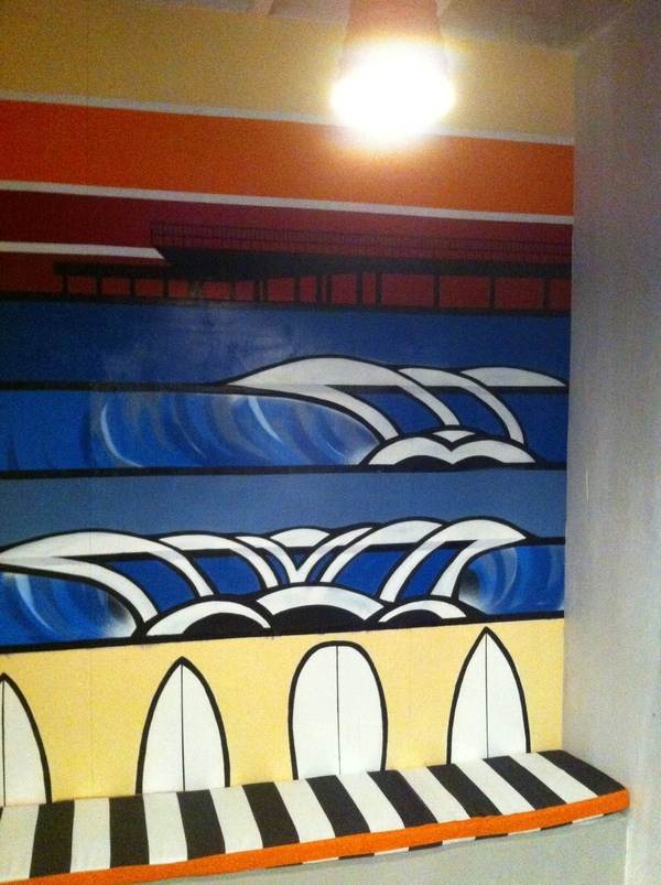 cafe mural acrylic surf pier lorne