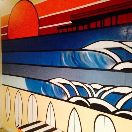 cafe mural surf art