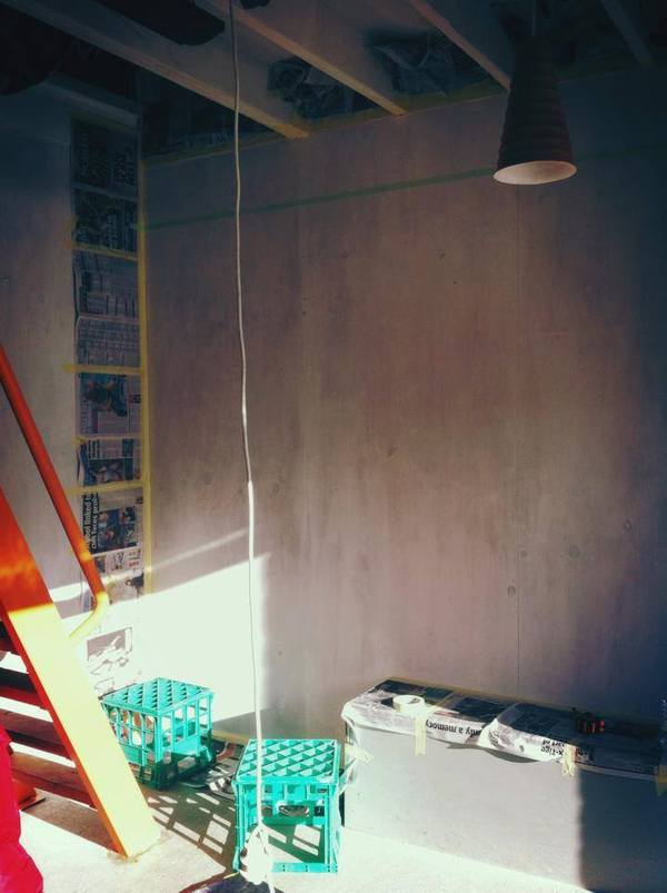 cafe painting in progress mural