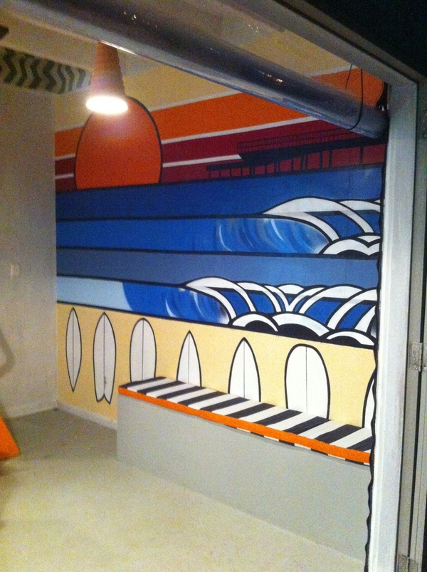 cool cafe mural acrylic surf ocean