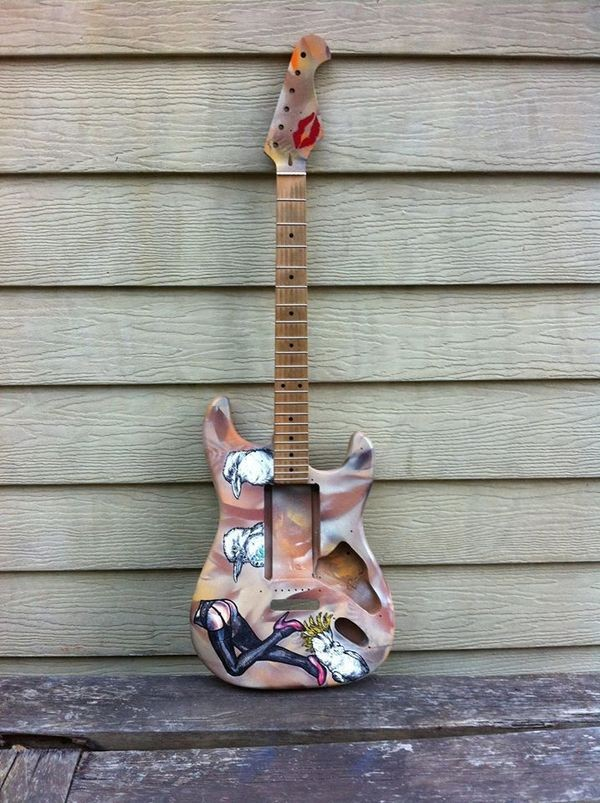 custom guitar woman birds