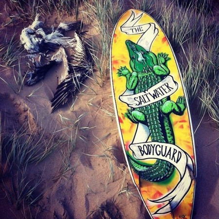 custom surfboard crocodile