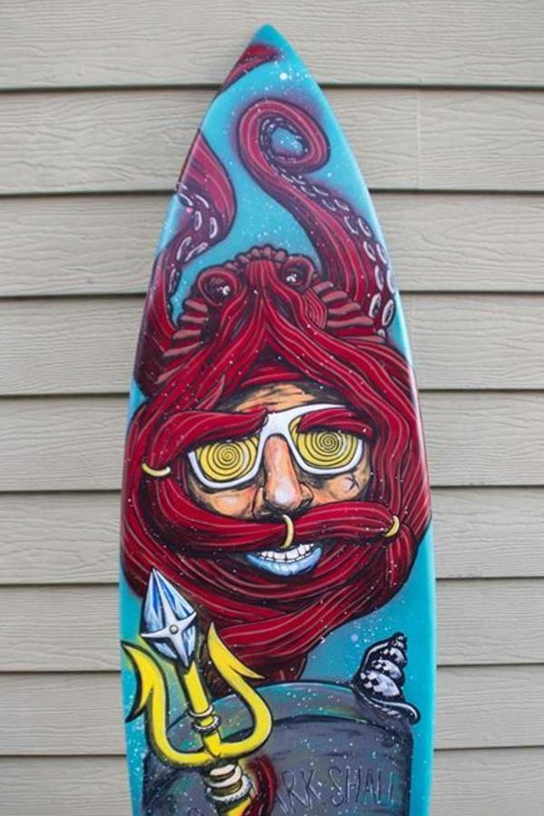 custom surfboard poseidon octopus