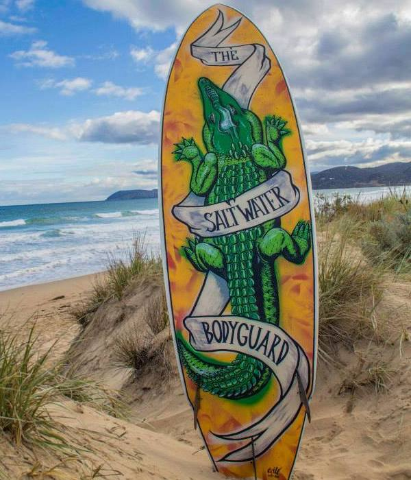 painted surfboard crocodile