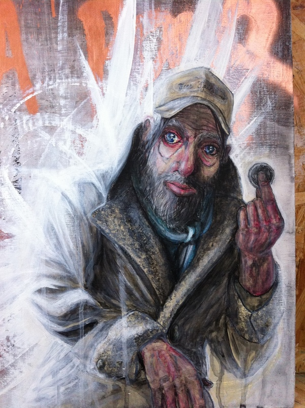 portrait homeless acrylic