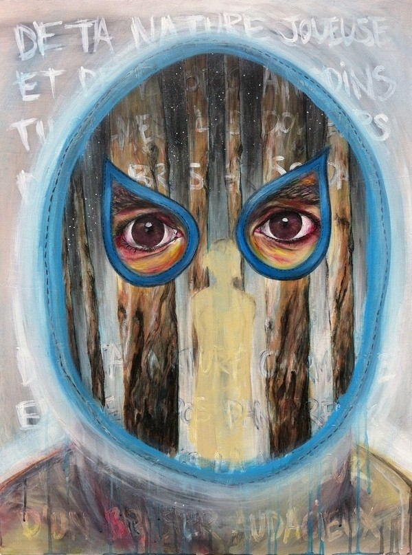 surrealist painting secret mask eyes trees woman figure