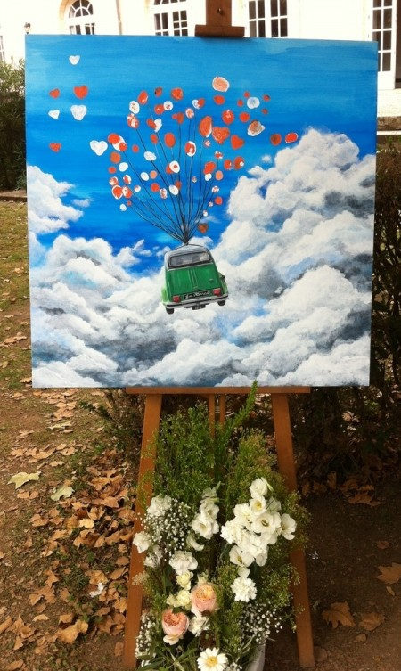 wedding painting acrylic sky clouds french car balloons