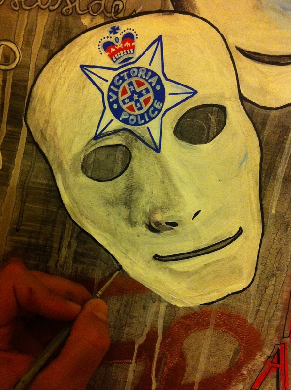 work in progress acrylic mask victorian police