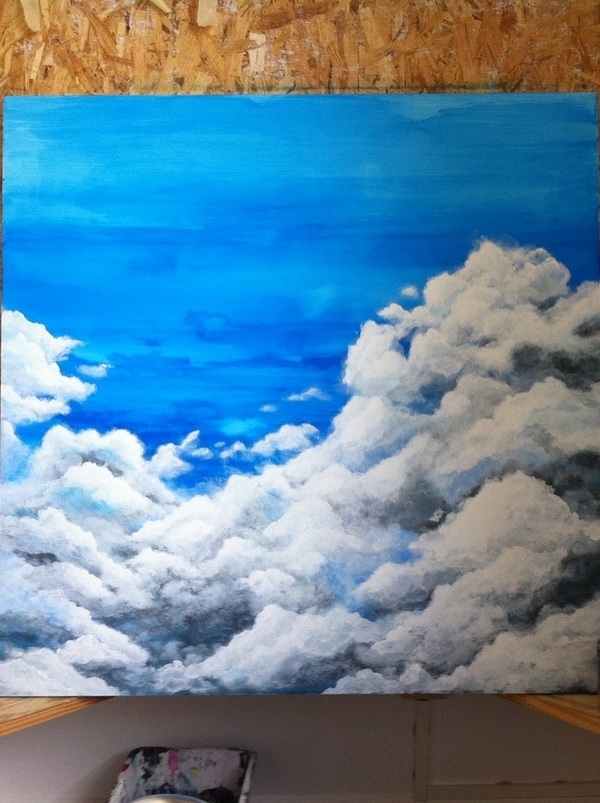 work in progress acrylic sky clouds