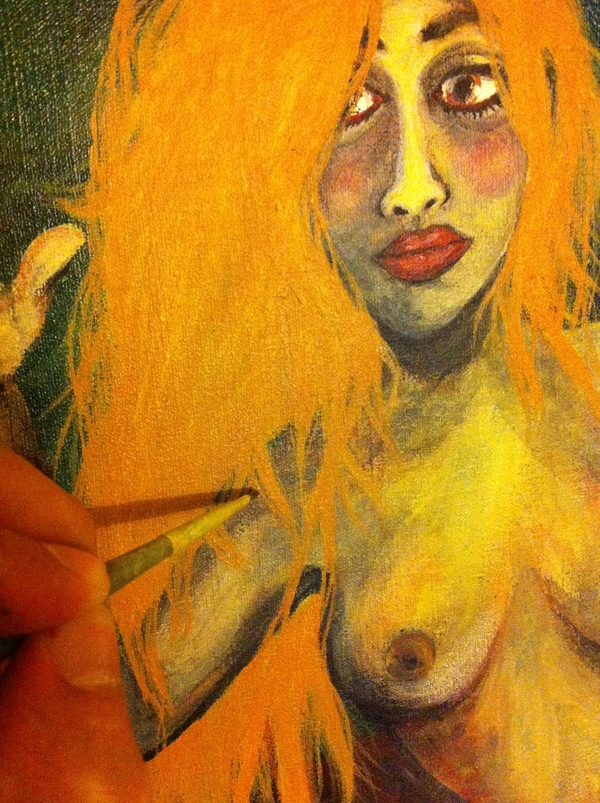 work in progress acrylic woman