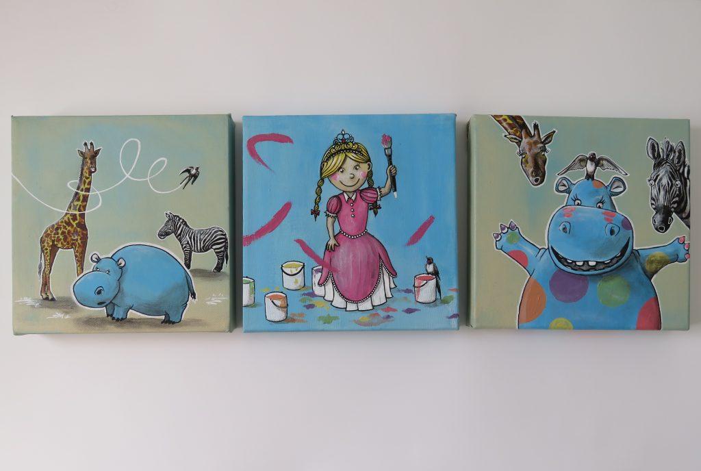 tryptic acrylic painting smile kids animals princess