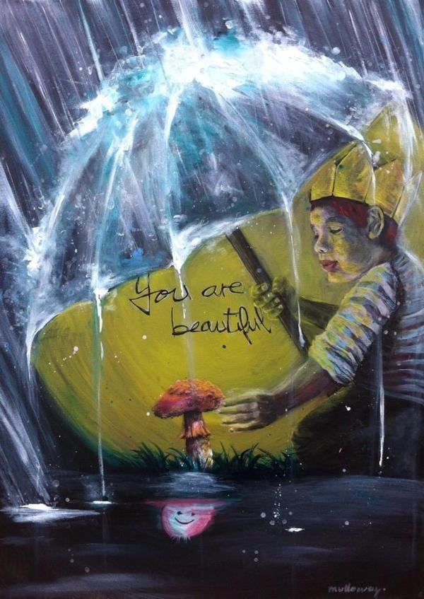 acrylic painting beauty kid kindness champignon
