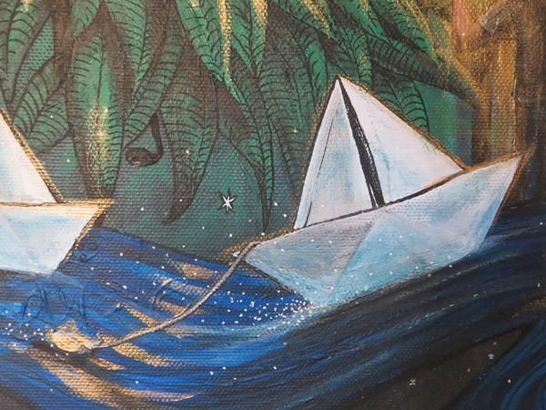 wonderland bright light river boats forest