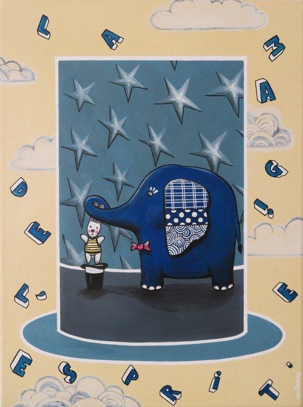 acrylic painting childwood hat magic elephant rabbit