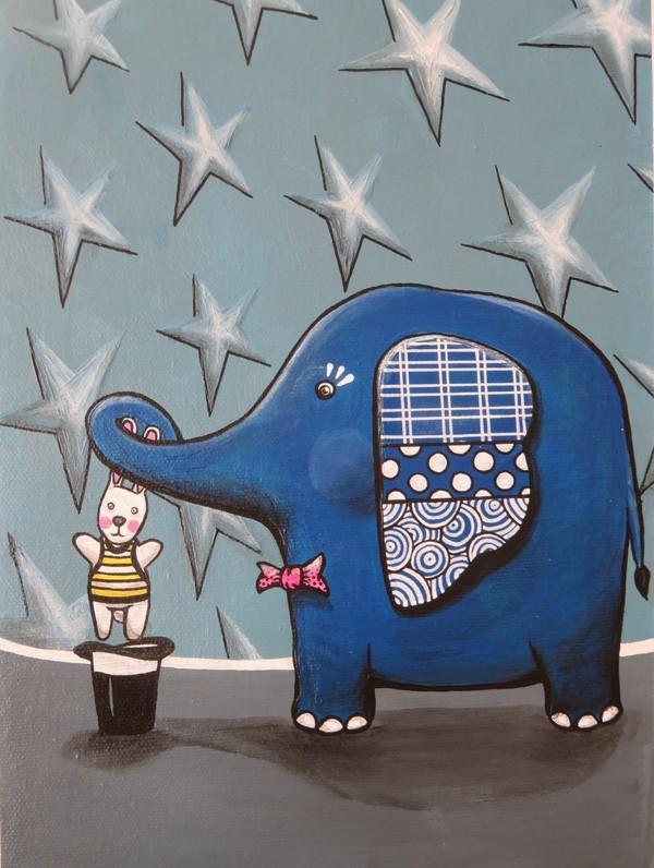 acrylic painting childwood magic hat elephant rabbit